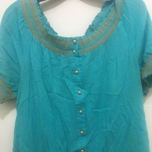 Turquoise and Gold Peasant top
